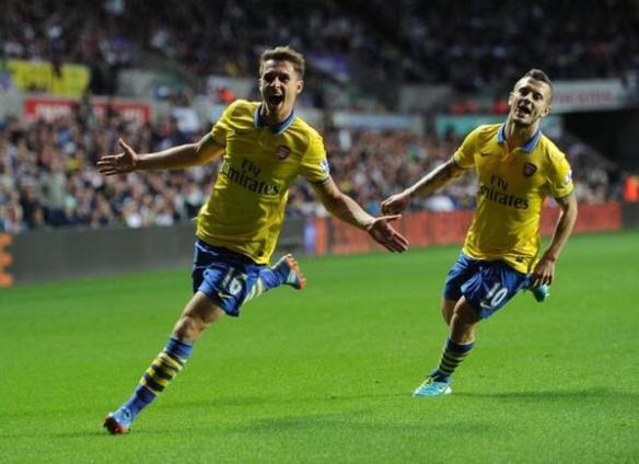 Ramsey Celebrates Goal Versus Swansea