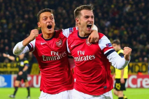 Ramsey Celebrates Goal Versus Dortmund
