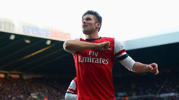 Giroud Celebrates Scoring Winner At Newcastle