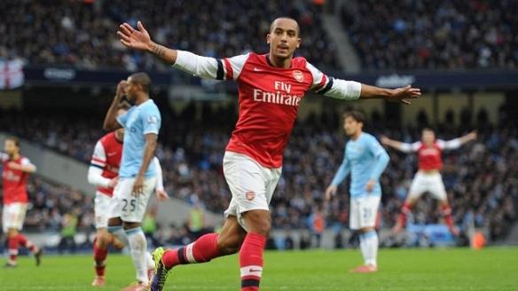 Walcott Celebrates His Goal Versus Man City (As Does The BFG)