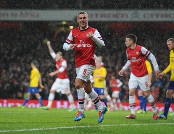 Podolski Celebrates His Second Against Coventry