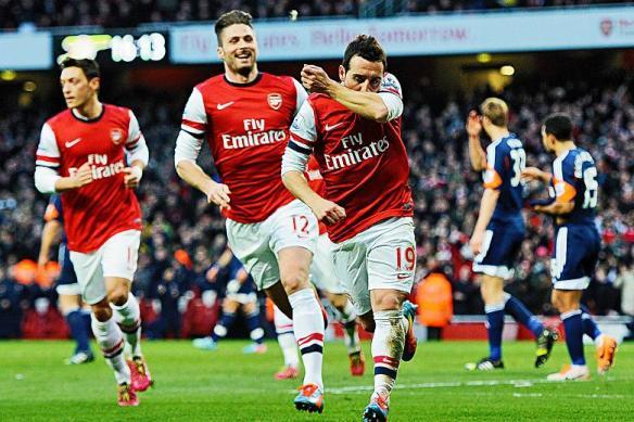 Santi Cazorla Celebrates Against Fulham