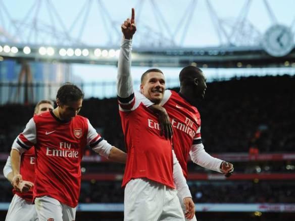 Podolski Celebrates Doubling Our Lead