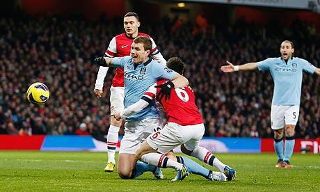 Laurent Koscielny Concedes A Penalty Against Man City