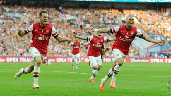 Ramsey and Gibbs Celebrate The Winner