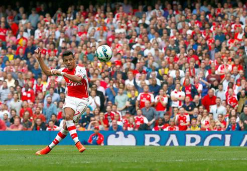 Alexis gives us the lead with a sumptuous volley