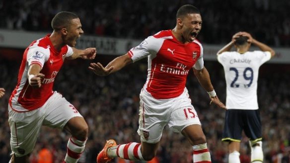 Oxlade-Chamberlain celebrates his north London derby equaliser