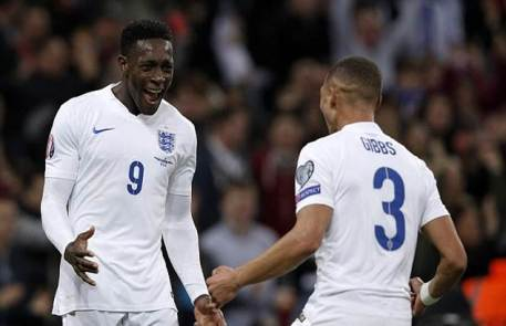 Welbeck celebrates one of his two England goals