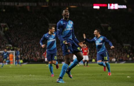 Welbeck celebrates his winner at Old Trafford